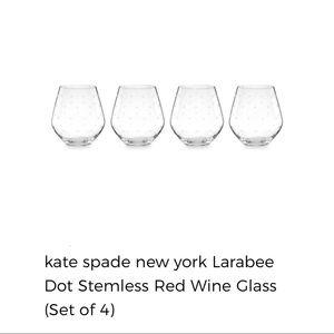 🆕KateSpade Larabee Dot Stemless Red Wine Set of 4